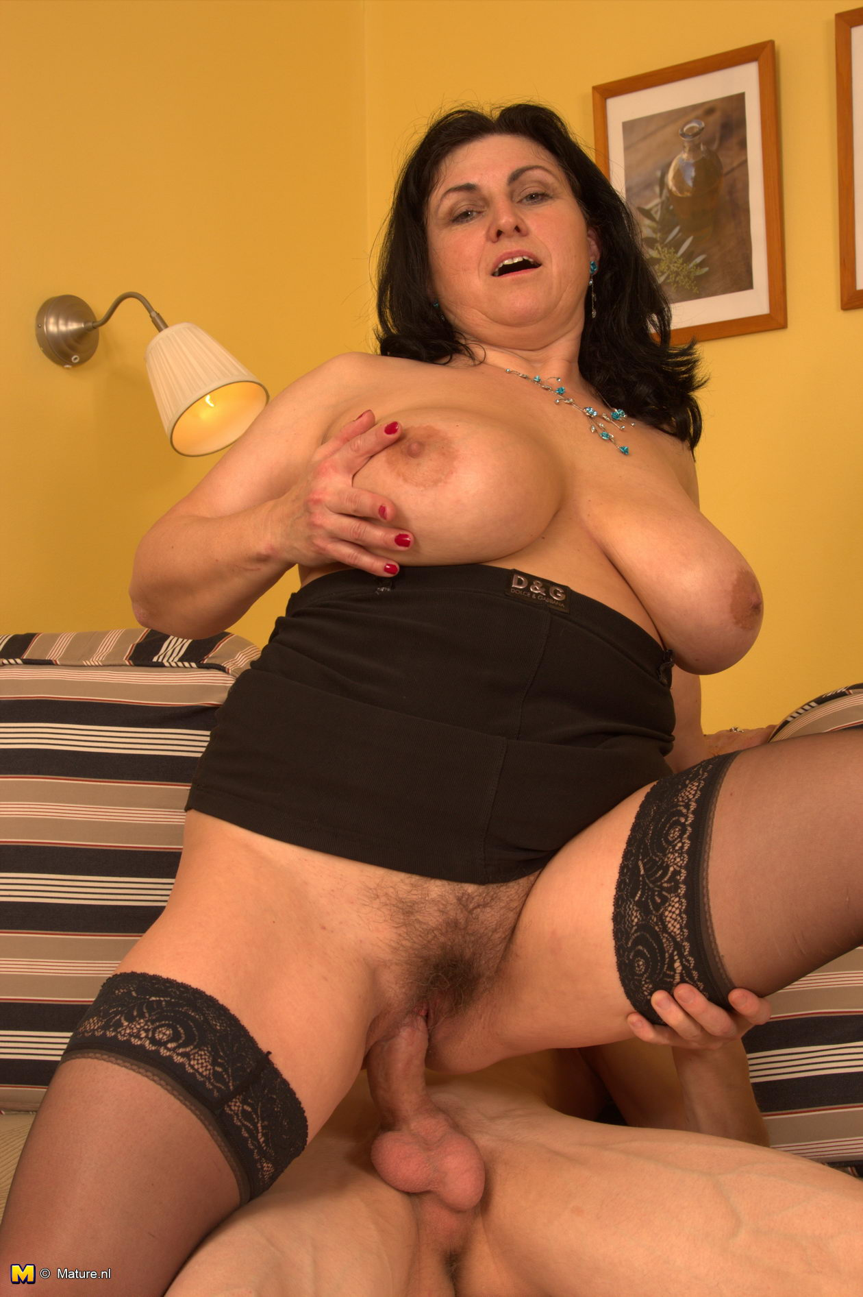 Horny busty matures fucking